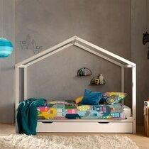 Lit cabane 90x200 cm avec tiroir en pin blanc - NINOU