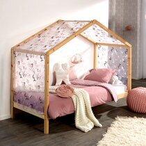 Lit cabane 90x200 cm en pin naturel avec textile décoré - NINOU