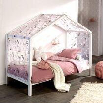 Lit cabane 90x200 cm en pin blanc avec textile décoré - NINOU