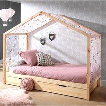 Lit cabane 90x200 cm en pin naturel avec tiroir et textile - NINOU