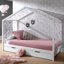 Lit cabane 90x200 cm en pin blanc avec tiroir et textile - NINOU