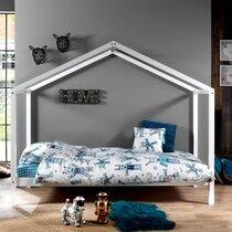 Lit cabane 90x200 cm avec matelas en pin blanc - NINOU
