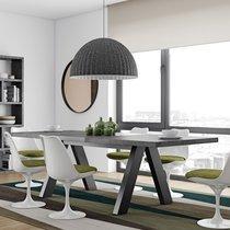 Table à manger extensible 200-250 cm décor béton et noir