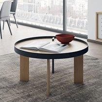Table basse ronde 80x42 cm décor chêne et noir