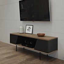 Meuble TV 2 portes 140x40x51 cm décor noyer vernis et noir