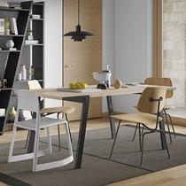 Table à manger 180x91x75 cm décor chêne clair vernis et métal noir