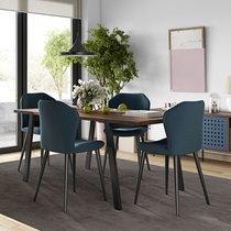 Table à manger 180x91x75 cm décor noyer vernis et métal noir