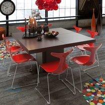 Table à manger carrée 130 cm décor chêne brun - DINNY