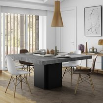 Table à manger carrée 130 cm décor béton et noir - DINNY