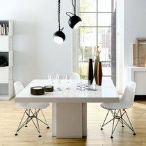Table à manger carrée 150 cm décor blanc brillant - DINNY