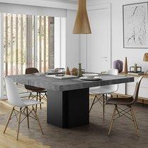 Table à manger carrée 150 cm décor béton et noir - DINNY
