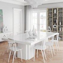 Table à manger 262 cm décor blanc brillant - DINNY