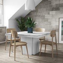 Table à manger carrée 130 cm en mabre blanc - DINNY