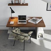 Bureau avec étagères 180x90x75 cm décor noyer et blanc