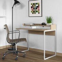 Bureau 2 tiroirs 100x55x85 cm décor chêne clair vernis pieds blancs