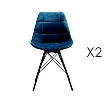 Lot de 2 chaises repas en velours bleu - STATEN