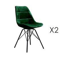 Lot de 2 chaises repas en velours vert - STATEN