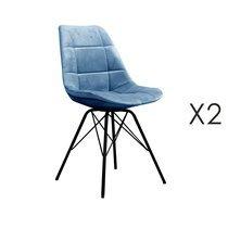 Lot de 2 chaises repas en velours bleu clair - STATEN