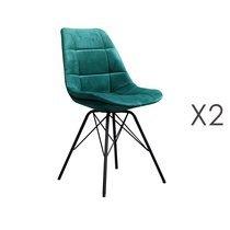 Lot de 2 chaises repas en velours bleu canard - STATEN