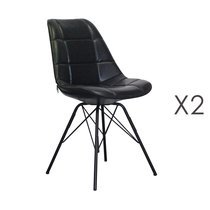 Lot de 2 chaises repas 44x44x88 cm en PU noir