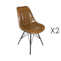 Lot de 2 chaises repas 44x44x88 cm en PU marron