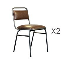 Lot de 2 chaises industrielles 46x47x82 cm en PU marron et métal