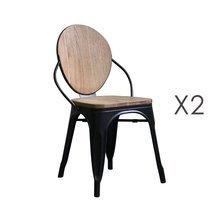 Lot de 2 chaises industrielles 48x49x83 cm en pin et acier