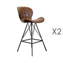 Lot de 2 chaises de bar 53,5x49x106 cm en PU marron et métal