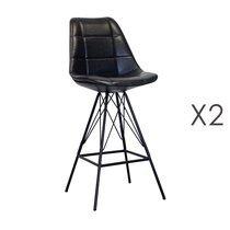 Lot de 2 chaises de bar 53x49x109 cm en PU noir et métal