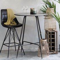 Table de bar ronde 80x100 cm en métal patiné noir