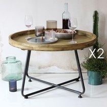 Lot de 2 tables basses rondes 75x47,5 cm en pin et métal