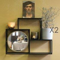Lot de 2 étagères murales avec miroir en métal noir et doré