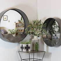 Lot de 2 miroirs ronds 60 et 50 cm en métal