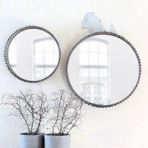 Lot de 2 miroirs ronds 41 et 31 cm en verre et rotin gris