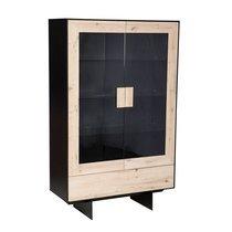 Vitrine 2 portes 112x45x180 cm en chêne clair et noir - KENNY