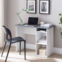 Bureau avec rangements 101x50x75 cm gris et blanc