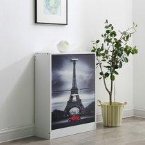 Meuble à chaussures 2 abbattants 60x24x80 cm décor tour Eiffel