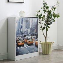 Meuble à chaussures 2 abbattants 60x24x80 cm décor New York