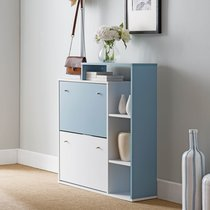 Meuble à chaussures avec portemanteaux blanc et bleu
