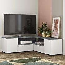 Meuble TV d'angle 130x130x46 cm blanc et béton - SQUAR