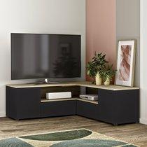 Meuble TV d'angle 130x130x46 cm noir et chêne - SQUAR