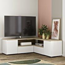 Meuble TV d'angle 130x130x46 cm blanc et chêne - SQUAR