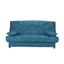Banquette-lit clic-clac 130 cm matelas 13 cm motif bleu