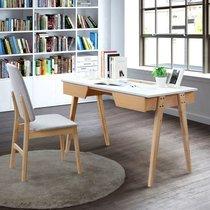 Bureau 2 tiroirs 120x60x75 cm décor chêne et blanc - NALA