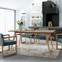 Table à manger 180x90x75 cm décor chêne et blanc - NALA