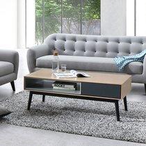 Console 1 tiroir 120x40x75,5 cm décor chêne et gris