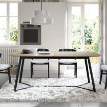 Table à manger 180x90x75 cm plateau chêne et piétement en métal noir