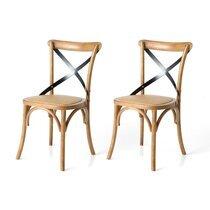 Lot de 2 chaises bistrot 50x55x88 cm en bois naturel