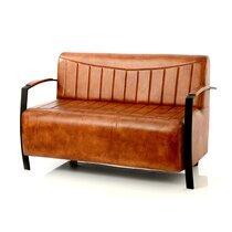 Canapé 2 places 128x72x80 cm en cuir marron et métal