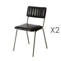 Lot de 2 chaises 46x52x78 cm en cuir noir
